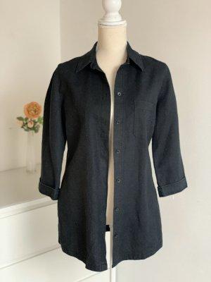 Schwarze Blusen-Jacke aus Leinen