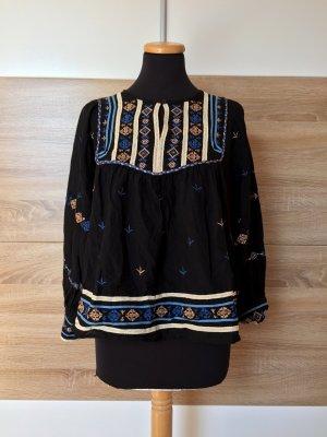 Schwarze Boho Stickerei Bluse, Tunika von Zara, Gr. M (NEUw.)