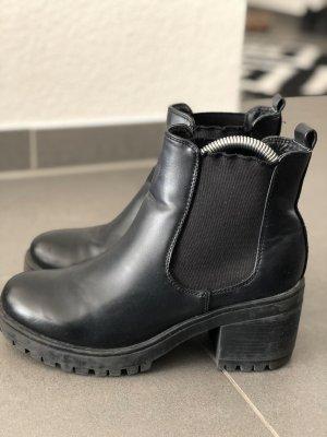 Schwarze Boots Leder 37