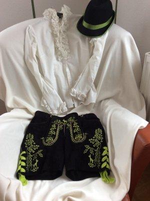 Pantalone in pelle tradizionale nero-verde prato Scamosciato