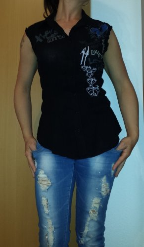 schwarze coole ärmellose Sommerbluse, Gr. M/L
