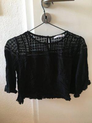 Schwarze cropped Bluse