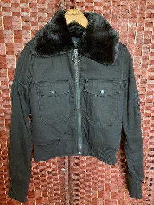 All Saints Jeansowa kurtka czarny Bawełna