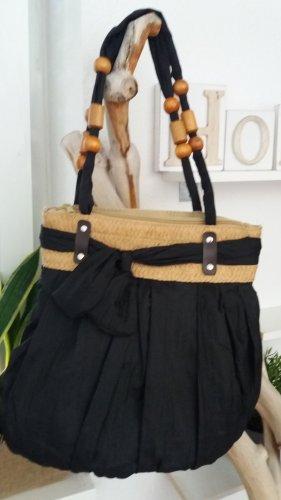Schwarze Damen Stoff Handtasche.