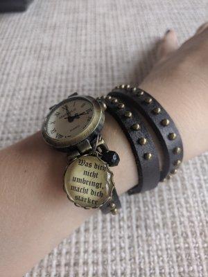 MadamLili Montre avec bracelet en cuir noir