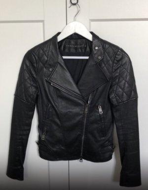 Ventcouvert Bikerjack zwart-zilver Leer