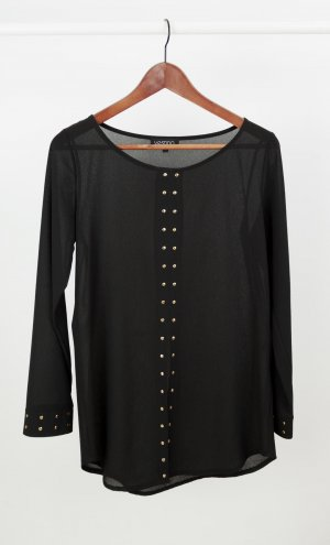 Schwarze dünne Bluse mit Nieten