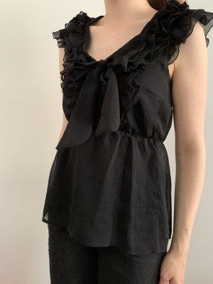 Schwarze elegante Bluse mit Schleife