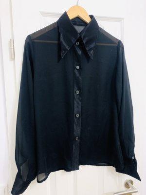 Schwarze elegante Bluse mit spitzem 80er Style Kragen, see through, Shiny Look leisten Gr. 38-40/ M-L