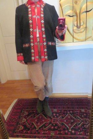 Schwarze Evebofoss Fjord Fashion Wollfilz Jacke - Floral Trimming - Gr. 42/44 - Folklore echt Norweger warme Jacke mit Innenfutter