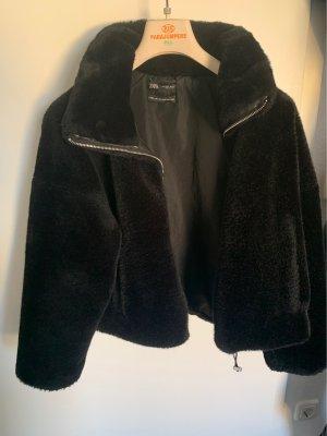 Zara Futrzana kurtka czarny Poliester
