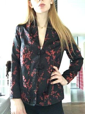 Schwarze feine Jacke Strickjacke rot Muster Blazer Geisha Blouson Knopfleiste Stehkragen Asia China Seide Look Blumen schwarz rot