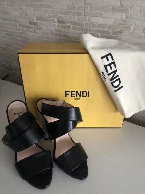 Schwarze Fendi Leder Sandalen mit buntem Absatz