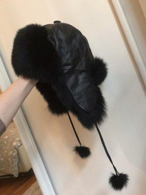 Futrzana czapka czarny Futro