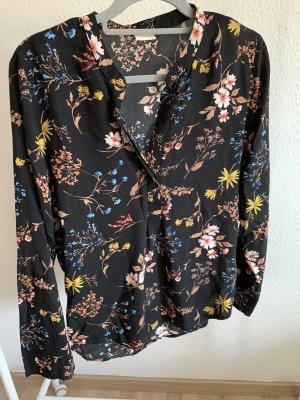 Schwarze florale Bluse - 36
