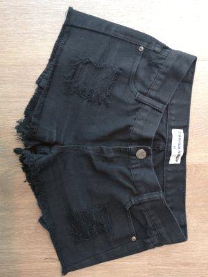 Schwarze Fransen Hotpants