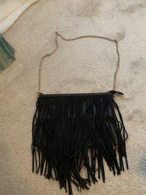 H&M Bolso de flecos negro-color oro