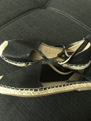 Espadrille sandalen zwart-licht beige