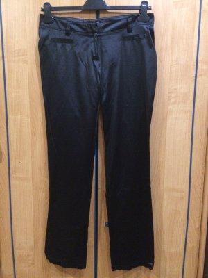 Schwarze, glänzende, breit geschnittene Stoffhose, Clockhouse, Gr. 38