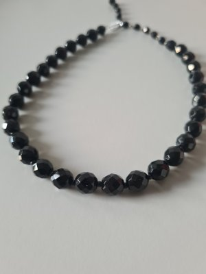 schwarze Glasperlenkette vintage