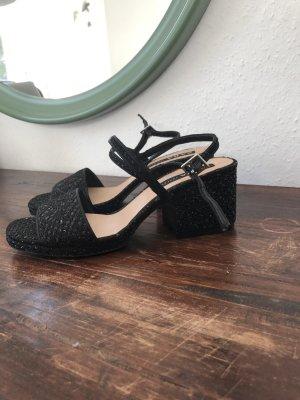 Schwarze Glitzer Stoff Pumps Sandalen 41 riemchen Glitzer Party schick Glamour Schuhe Absatz
