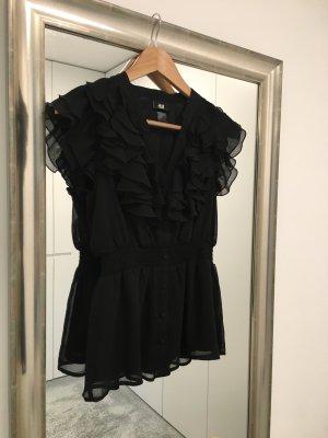 Schwarze H&M Bluse mit Rüschenausschnitt und betonter Taille (34)