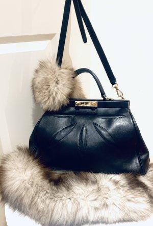 Schwarze Handtasche echtes Leder, weich/ Handtasche/ Tote bag,  made in Italy Midi