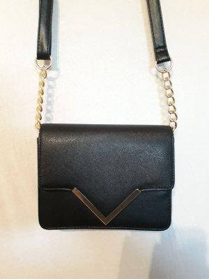 Schwarze Handtasche mit Goldhighlights