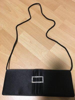 Schwarze Handtasche Tasche Clutch Abendtasche mit Strass in Satin Optik
