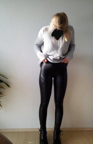 schwarze hautenge super bequeme Leggings in Lederoptik Größe M
