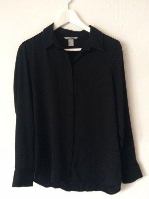 Schwarze Hemd-Bluse mit versteckter Knopfleiste