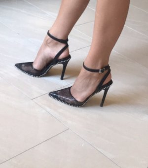 Schwarze High Heels in Netzoptik Gr 37