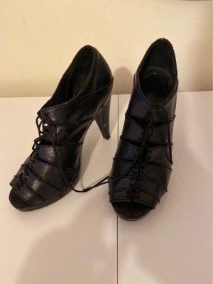 Schwarze High Heels Peep Toes zum Schnüren