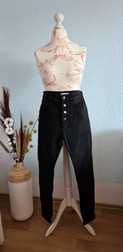 schwarze, highwaist skinny Jeans mit Knöpfen von Zara