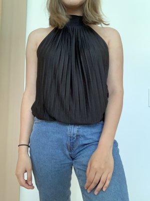 Schwarze hochgeschlossen schulterfreie Bluse