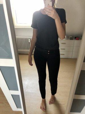 Flame Pantalon taille basse noir-doré coton
