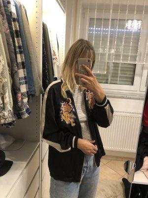 H&M Blouse Jacket black-neon orange