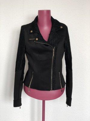 Schwarze Jacke mit Spitze | Gr. 38 (eher 36)