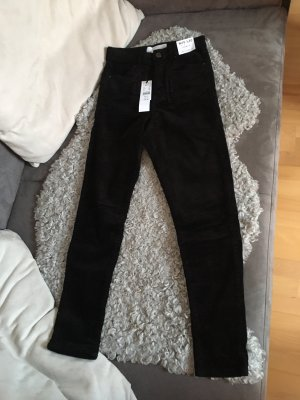 Topshop Pantalone di velluto a coste nero Velluto a coste