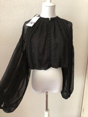 Schwarze Jaquard Bluse neu von Zara
