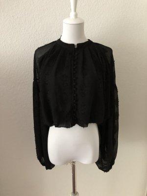 Schwarze Jaquard Bluse von Zara Neu