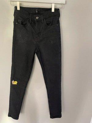 Topshop Jeans a vita alta nero Cotone