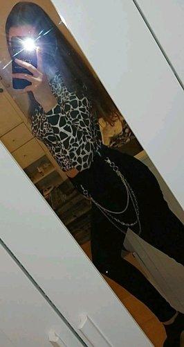 Sheinside Pantalone a vita alta nero-argento