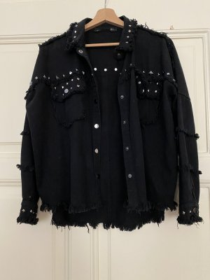 Schwarze Jeansjacke mit Nieten Zara XS-M