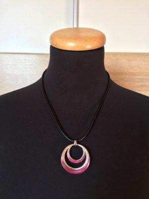 Schwarze Kette mit silber rosa Anhänger Kreise