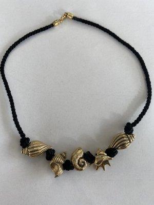 Naszyjnik z muszelek czarny-złoto