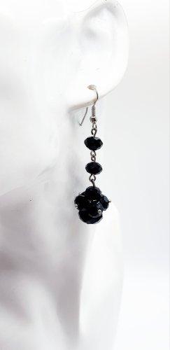 Schwarze Kristall Ohrhänger,  6cm