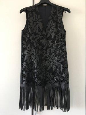 Schwarze Kunst Lederweste Fransen M schwarz Blumen Cutout neu aus Italien
