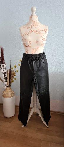 Mango Leather Trousers black imitation leather
