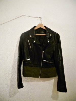 24Colours Faux Leather Jacket black-dark green